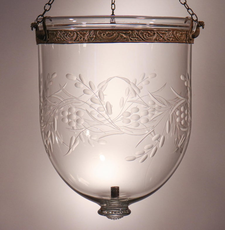 Antique Bell Jar Lantern with Vine and Berry Etching For Sale 4
