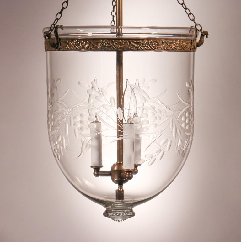 High Victorian Antique Bell Jar Lantern with Vine and Berry Etching For Sale