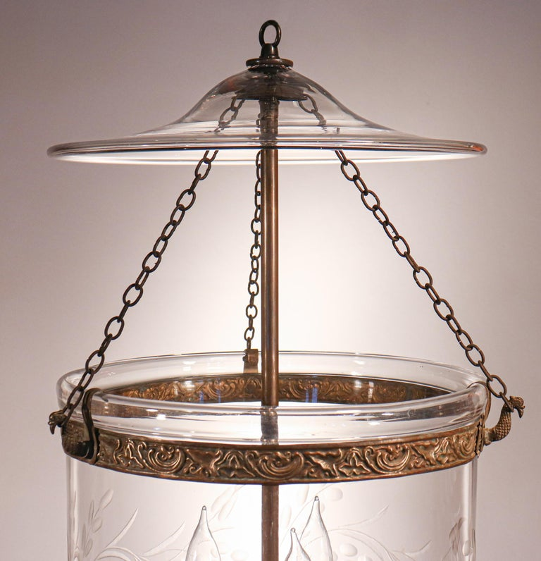 English Antique Bell Jar Lantern with Vine and Berry Etching For Sale