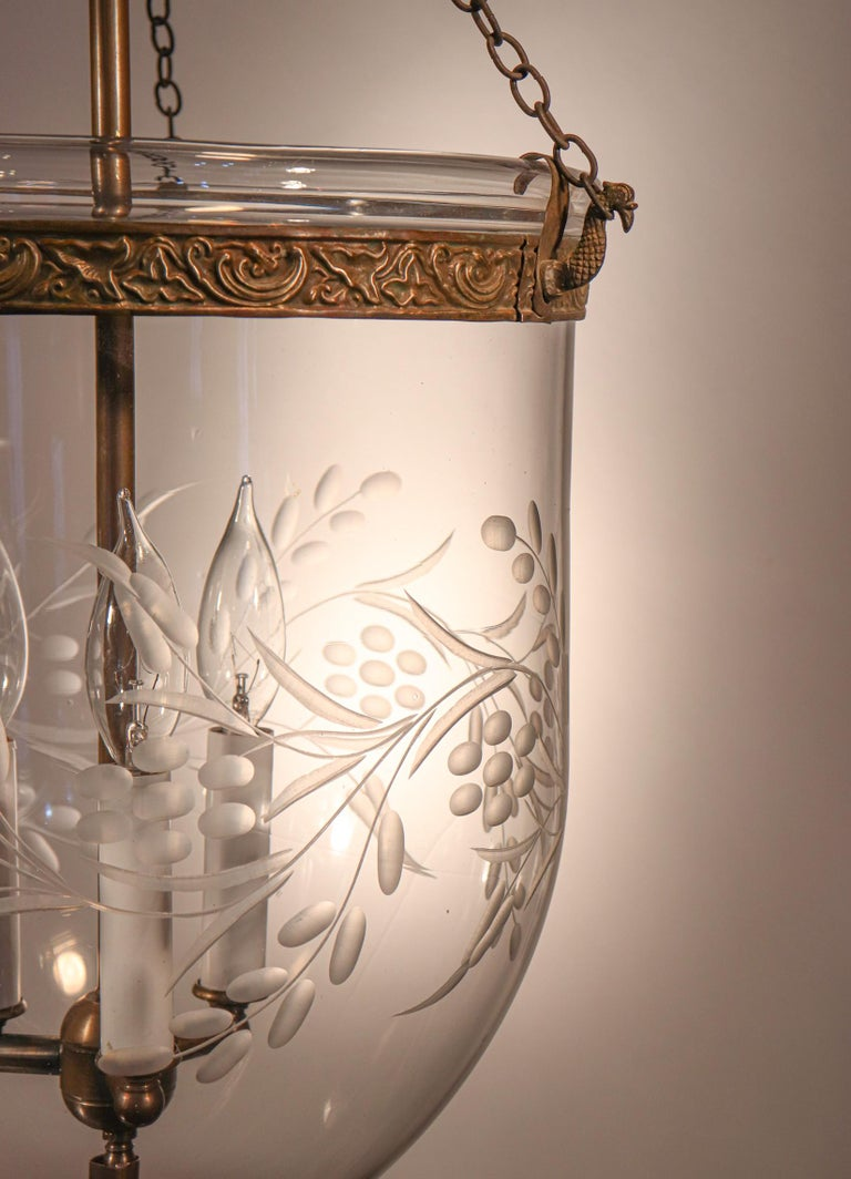 Antique Bell Jar Lantern with Vine and Berry Etching In Good Condition For Sale In Heath, MA