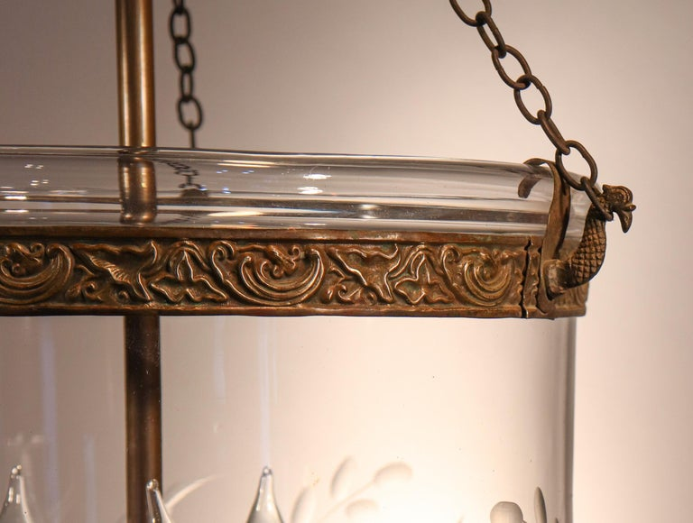 19th Century Antique Bell Jar Lantern with Vine and Berry Etching For Sale