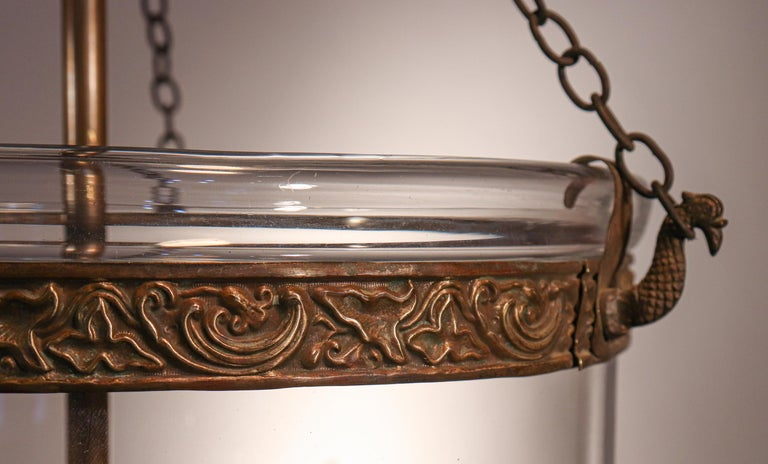 Brass Antique Bell Jar Lantern with Vine and Berry Etching For Sale