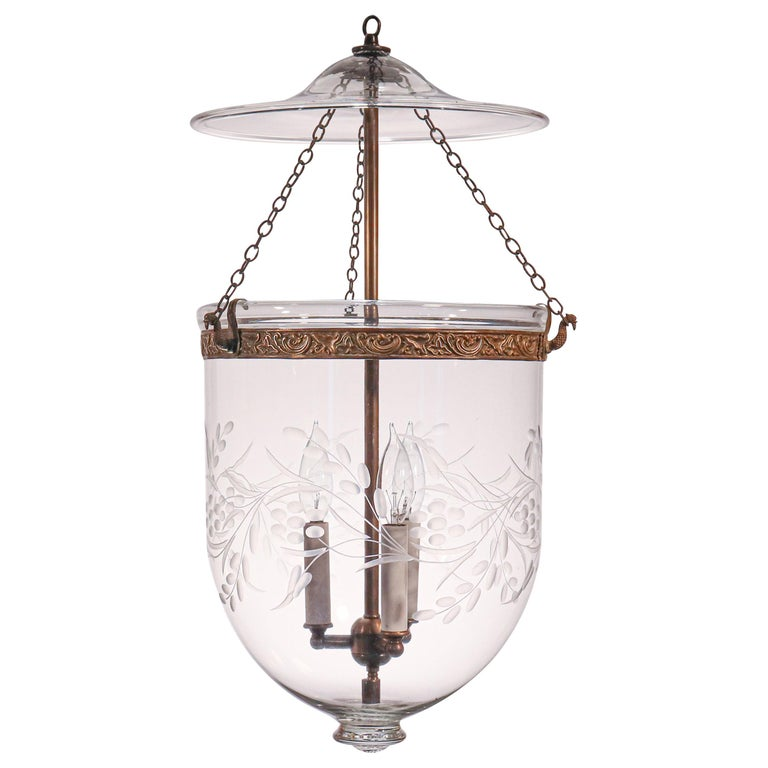 Antique Bell Jar Lantern with Vine and Berry Etching For Sale