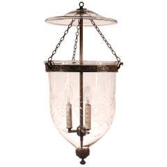 Antique Bell Jar Lantern with Vine Etching