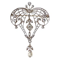 Antique Belle Epoque 14K Yellow Gold Silver Plated Diamond Lavalier Brooch