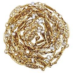 Antique Belle Époque 18 Karat Gold Sautoir Long Guard Chain Oriental Pearls