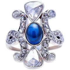 Antique Belle Époque, 18 Carat Gold, Cabochon Sapphire and Rose-Cut Diamond Ring