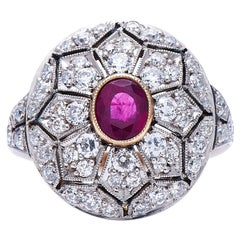 Antique, Belle Époque, 18 Carat Gold, Ruby and Diamond Cluster Ring