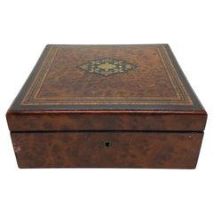 Antique Belle Époque Burl Walnut Box with Brass, Ebony Inlay, French, circa 1880