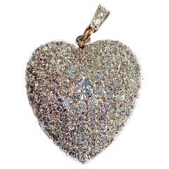 Antique Belle Époque Diamond Heart Pendant Brooch Platinum 18 Karat Yellow Gold