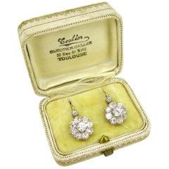 Antique Belle Époque Diamonds Dormeuses Earrings in Box, 18kt Gold and Platinum