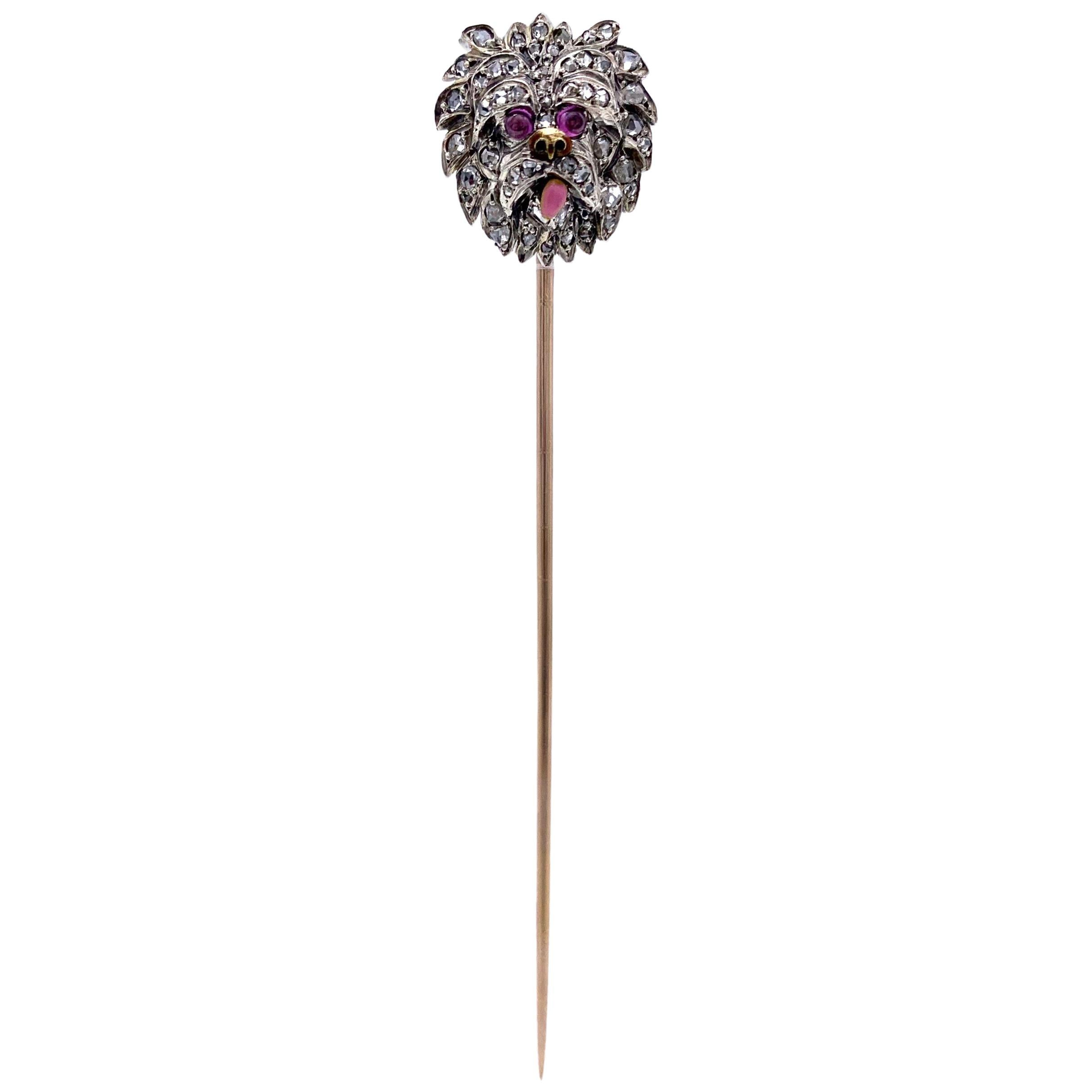 1890 Belle Èpoque Dog Yorckshire Terrier Stickpin 18 Kt Platinum Diamond Ruby