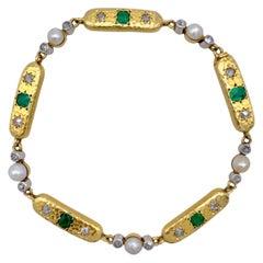 Antique Belle Époque French 18 Kt Gold Platinium Emerald Diamond Oriental Pearls