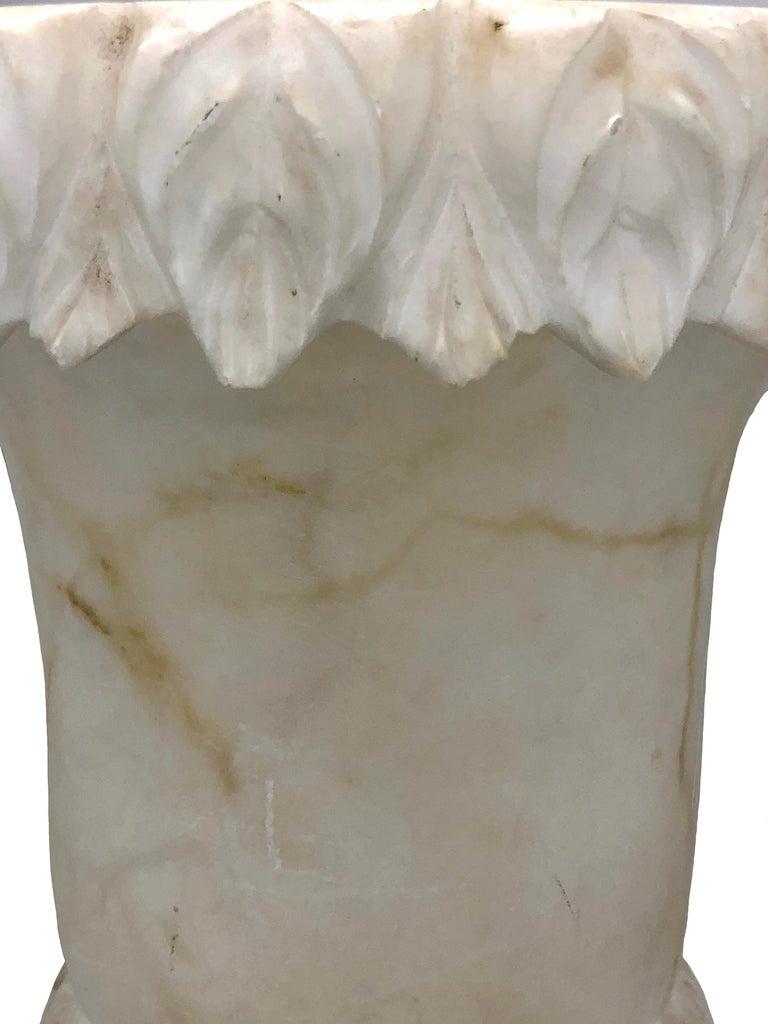 Carved Antique Belle Époque French Alabaster Vase Garden Ornament For Sale