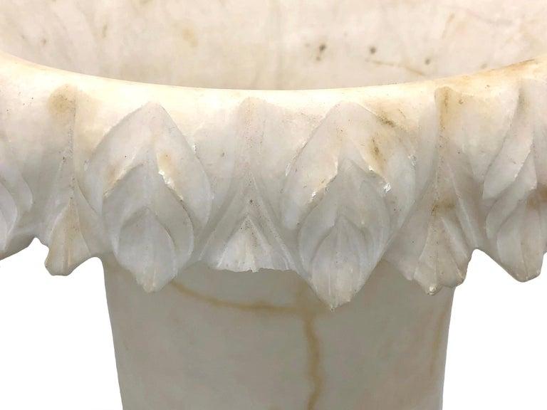 Antique Belle Époque French Alabaster Vase Garden Ornament For Sale 4