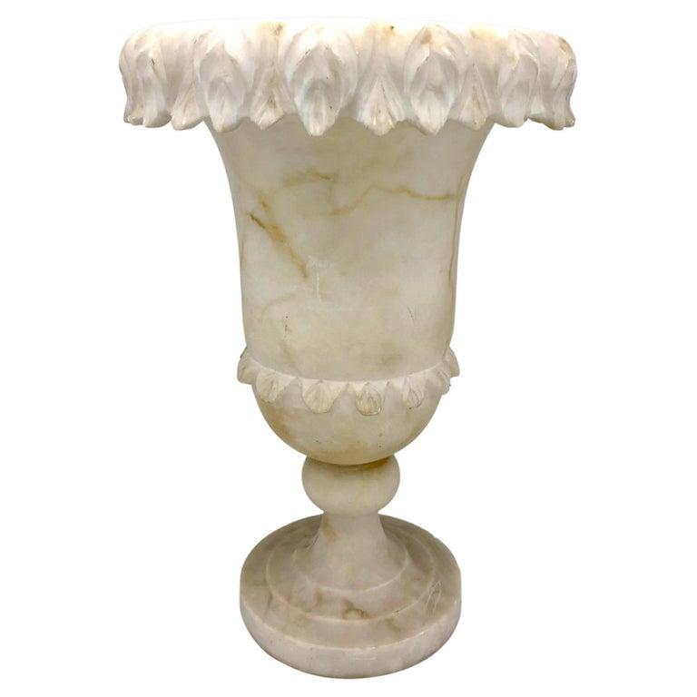 Antique Belle Époque French Alabaster Vase Garden Ornament For Sale