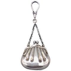 Antique Belle Époque Miniature Purse Handbag Silver Pendant