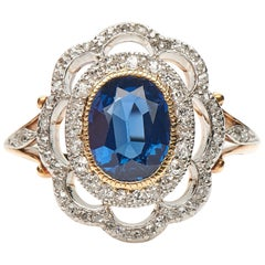 Antique, Belle Époque, Natural Sapphire and Diamond Cluster Engagement Ring