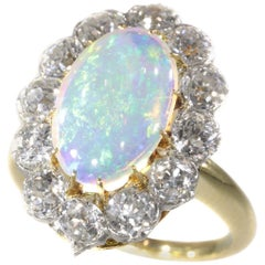 Antique Belle Époque Opal and Diamonds Ring Can Be Changed into a Pendant