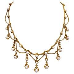 Antique Belle Époque Oriental Pearl Diamond Gold Articulated Necklace France