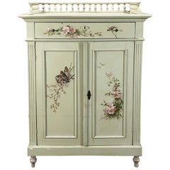 Antique Belle Époque Hand Painted English Cabinet with Birds and Flowers