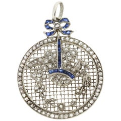 "Antique Belle Époque Platinum ""Petit Point"" Rose Cut Diamond Sapphire Pendant"