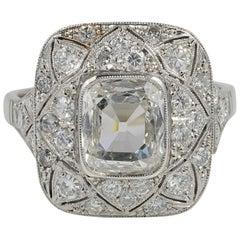 Rectangular Diamond Plus Engagement Platinum Belle Époque Ring
