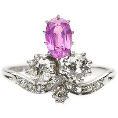 Antique, Belle Époque Rings, Pink Sapphire and Diamond Trefoil Engagement Ring