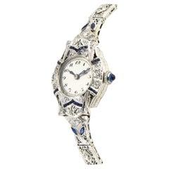Antique Belle Époque Sapphire Diamond Filagree Ladies Platinum Gold Dress Watch