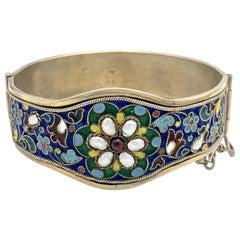 Antique Belle Époque Silver Cloisionné Pearl Garnet Bangle