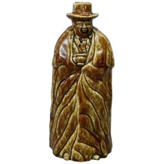 Antique Bennington Pottery Figural Coachman Flask in Rockingham Glaze circa 1849