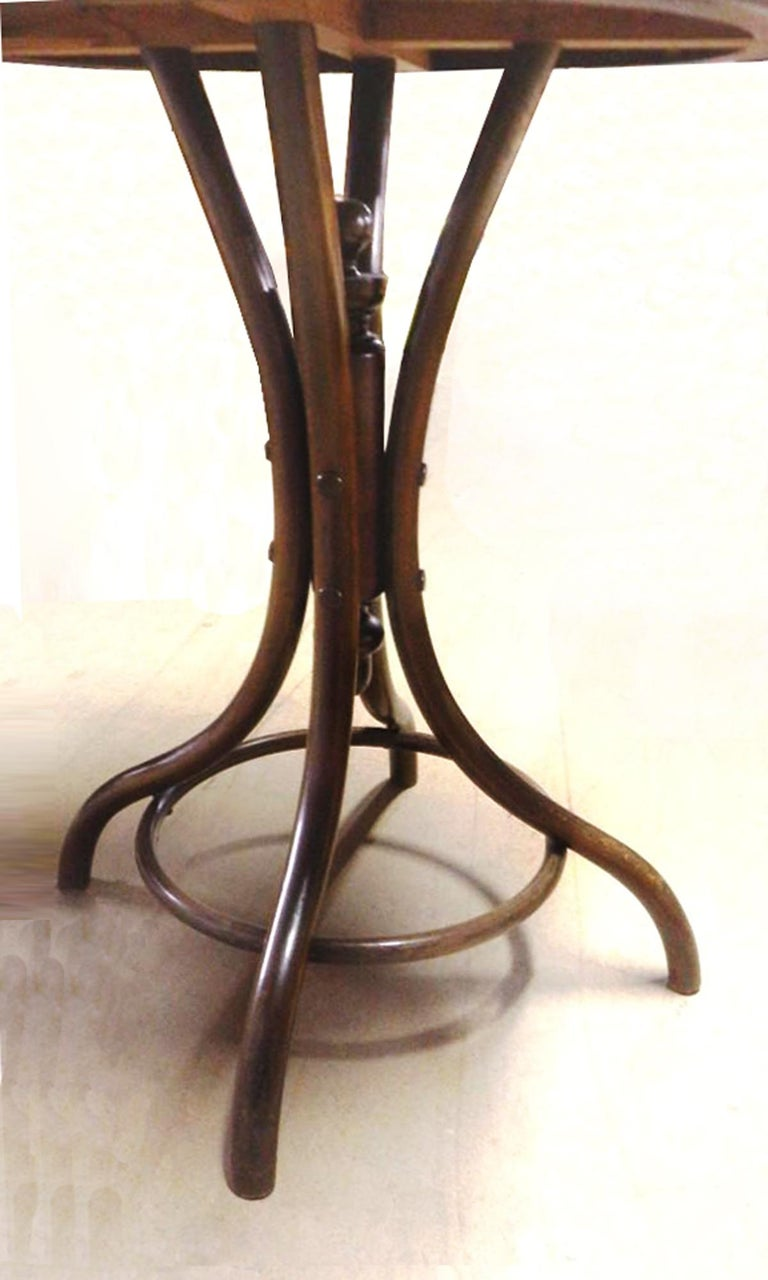 Antique Bentwood Bistro or Side Table Thonet Style by Fischel For Sale 12
