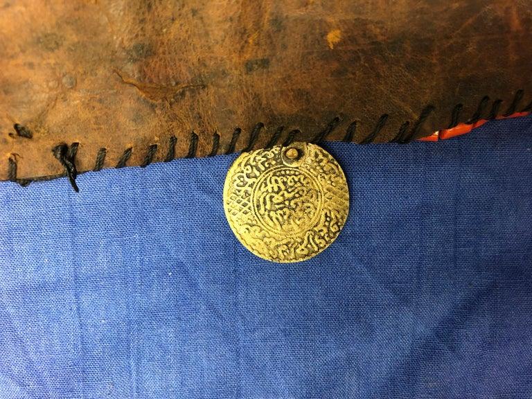Handwoven Striped Wide Moroccan Berber Antique Beaded Wool Belt  For Sale 3