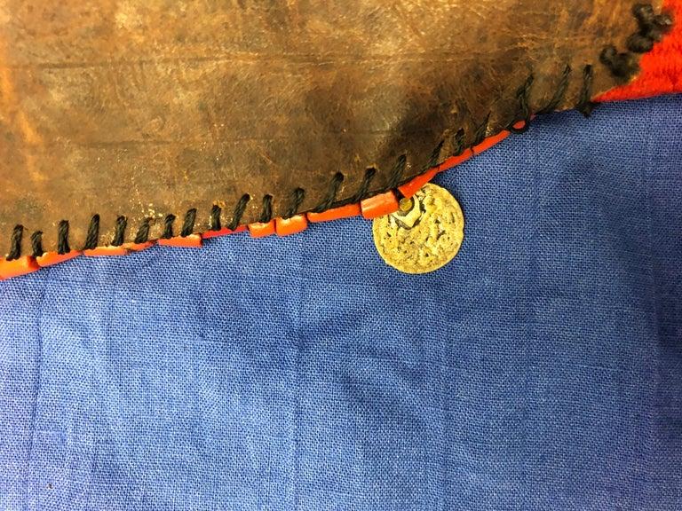 Handwoven Striped Wide Moroccan Berber Antique Beaded Wool Belt  For Sale 4