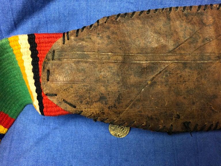Handwoven Striped Wide Moroccan Berber Antique Beaded Wool Belt  For Sale 5