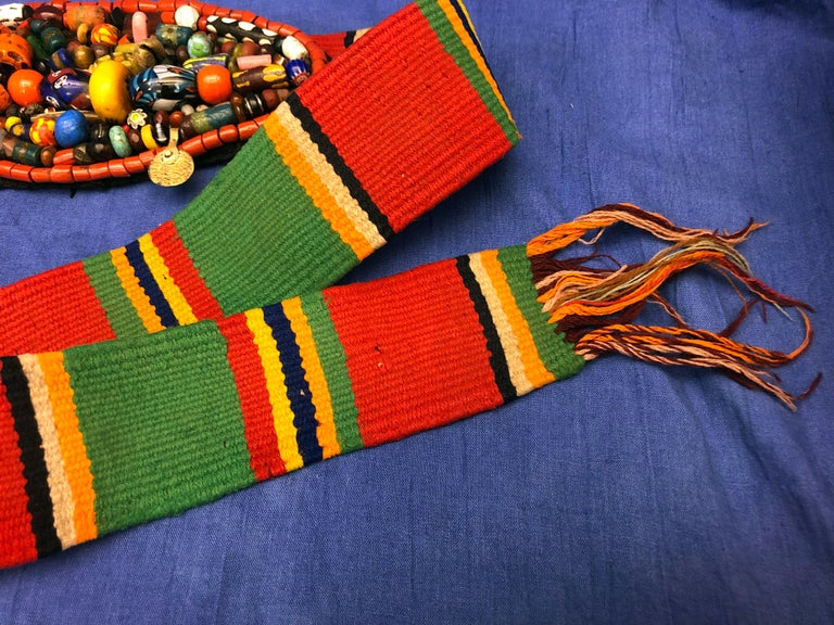 Agate Handwoven Striped Wide Moroccan Berber Antique Beaded Wool Belt  For Sale