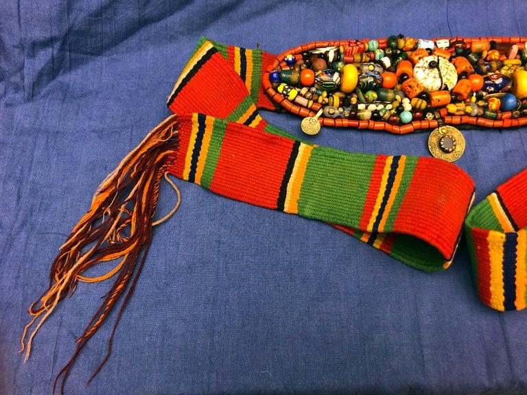 Handwoven Striped Wide Moroccan Berber Antique Beaded Wool Belt  For Sale 1