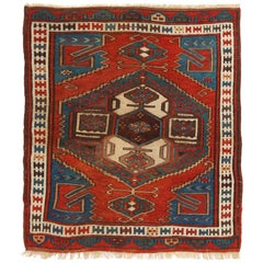 Antique Bergama Traditional Geometric Red and Blue Wool Rug