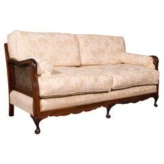 Antique Bergere Sofa, English, Beech, Cane, 2 Seat Settee, Edwardian, Circa 1910