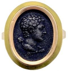 Antique Berlin Iron Hercules Relief Portrait Strength 18 Karat Gold Modern Ring