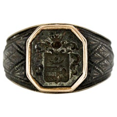 Antique Berlin Iron Signet Ring, Made in Germany, circa 1790-1810