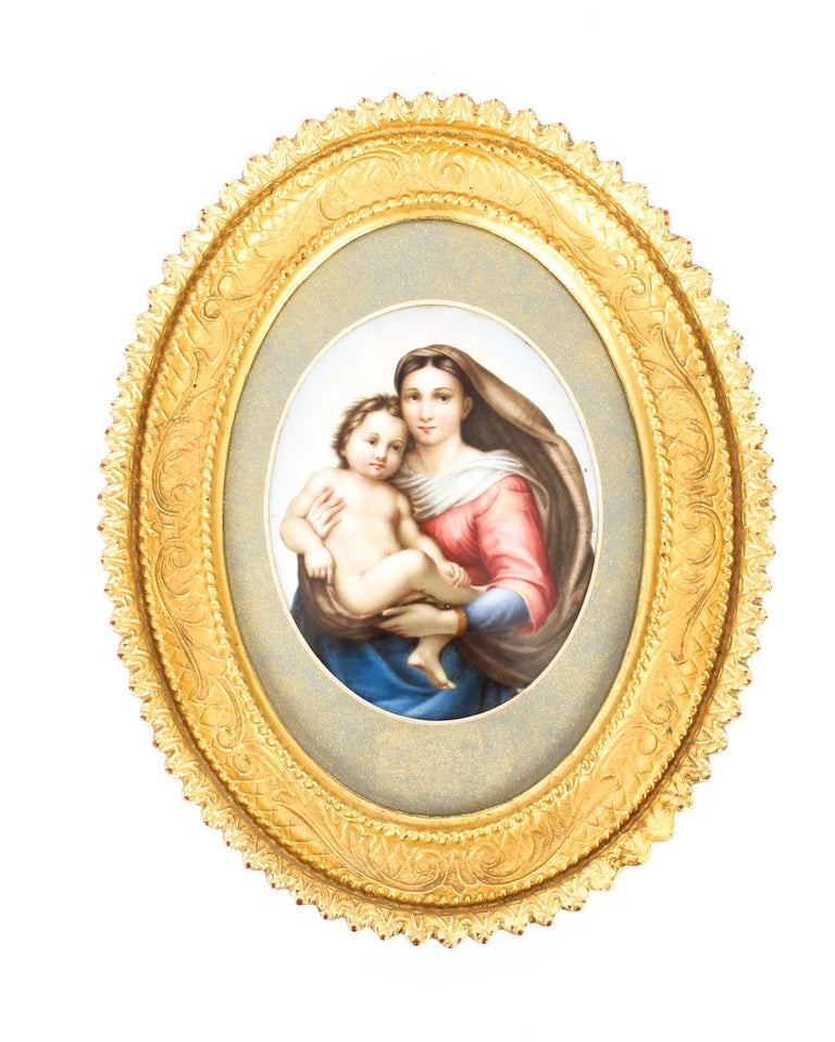 Antique Berlin KPM Plaque of Madonna and Child, 19th Century For Sale 4