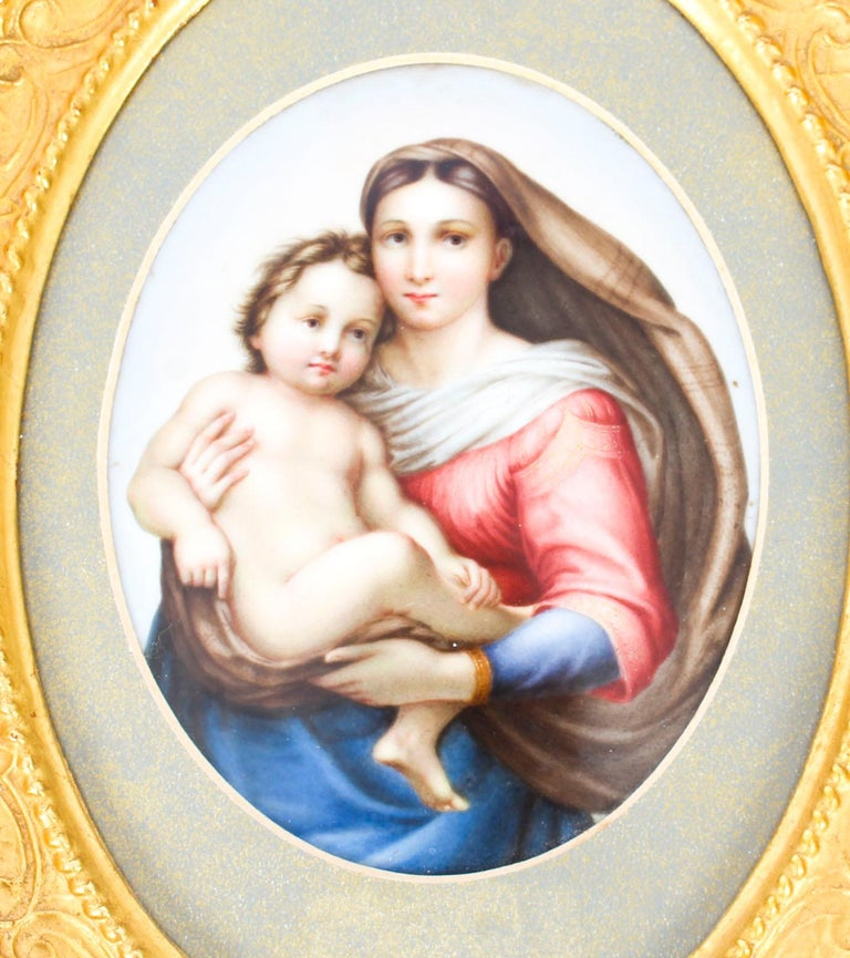 This is a finely painted beautiful KPM Berlin Plaque of the mother and child, circa 1880 in date.