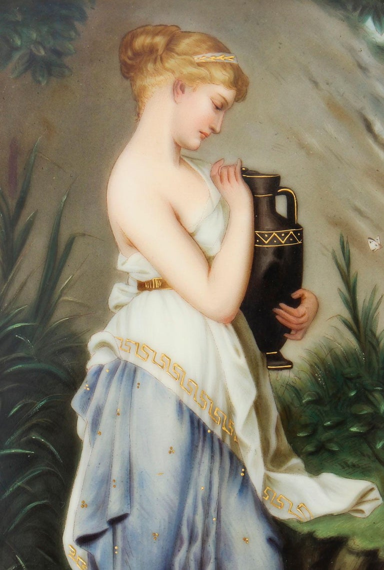 This is an absolutely stunning and finely painted KPM Berlin Plaque of Psyche with an Urn, after Robert Julius Beyschlag, circa 1880 in date. 19th Century   This magnificent plaque is portrait in shape and depicts the Princess of outstanding beauty,