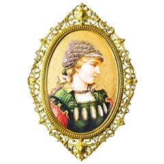 Antique Berlin Oval Porcelain Plaque Young Woman Ormolu Frame, 19th Century