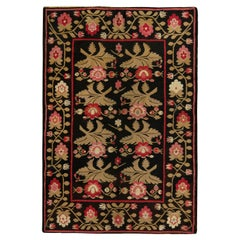 Antique Bessarabian Kilim Rug in Black with Red and Green Floral Pattern