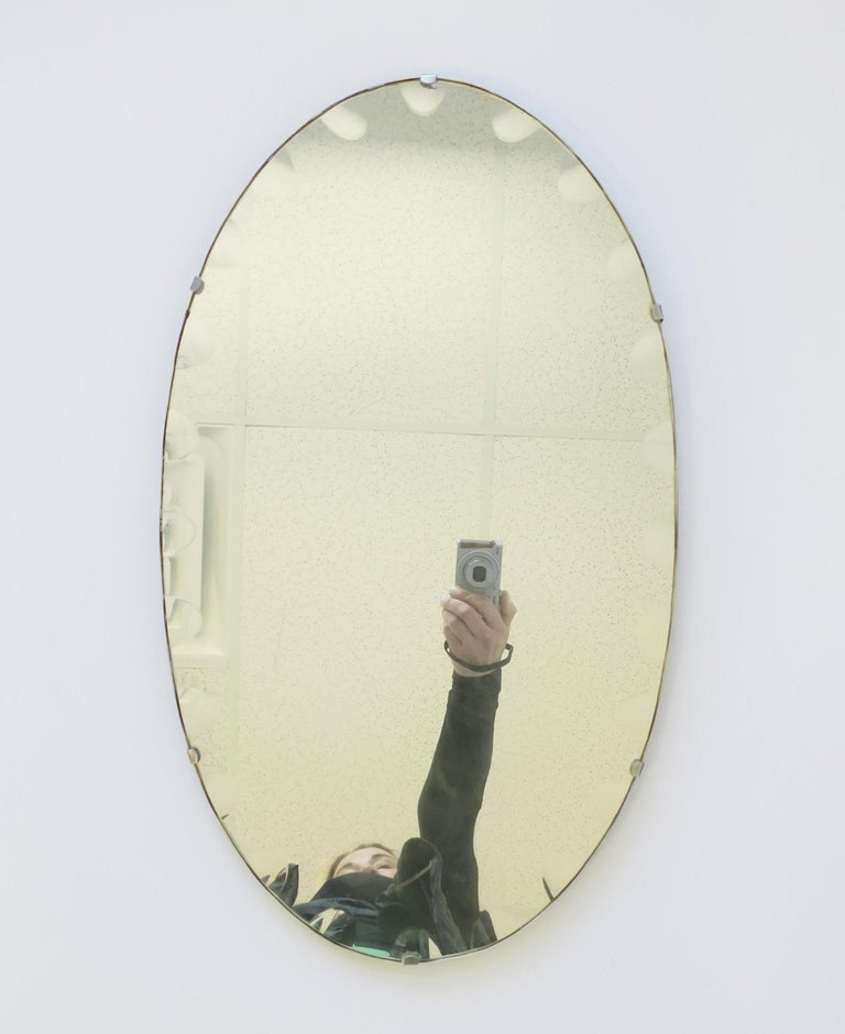 Metal Antique Modern Beveled Wall or Vanity Mirror For Sale