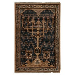 Antique Bezalel Rug in Beige, Blue and Gold