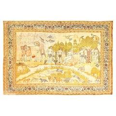 Antique Biblical Adam and Eve Scene Turkish Hereke Silk Rug. Size: 7 ft x 5 ft