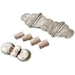 Antique Biblical Etched Lock Bar Brooches